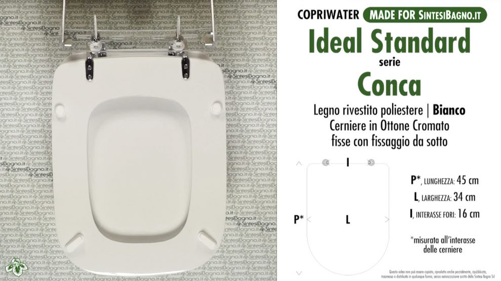 Fiche technique si ges de toilette ideal standard conca for Misure copriwater ideal standard