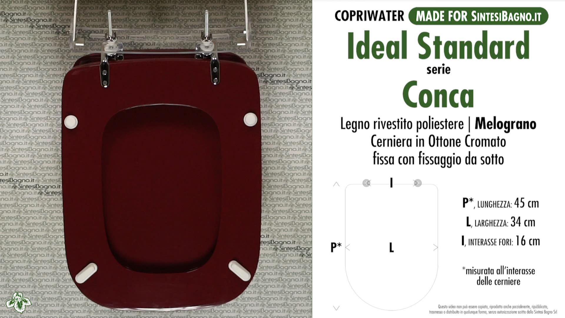 schede tecniche misure copriwater ideal standard serie conca