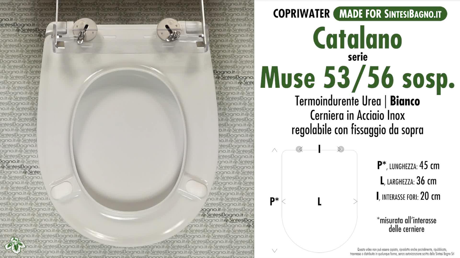 SCHEDA TECNICA MISURE copriwater CATALANO MUSE 53/56