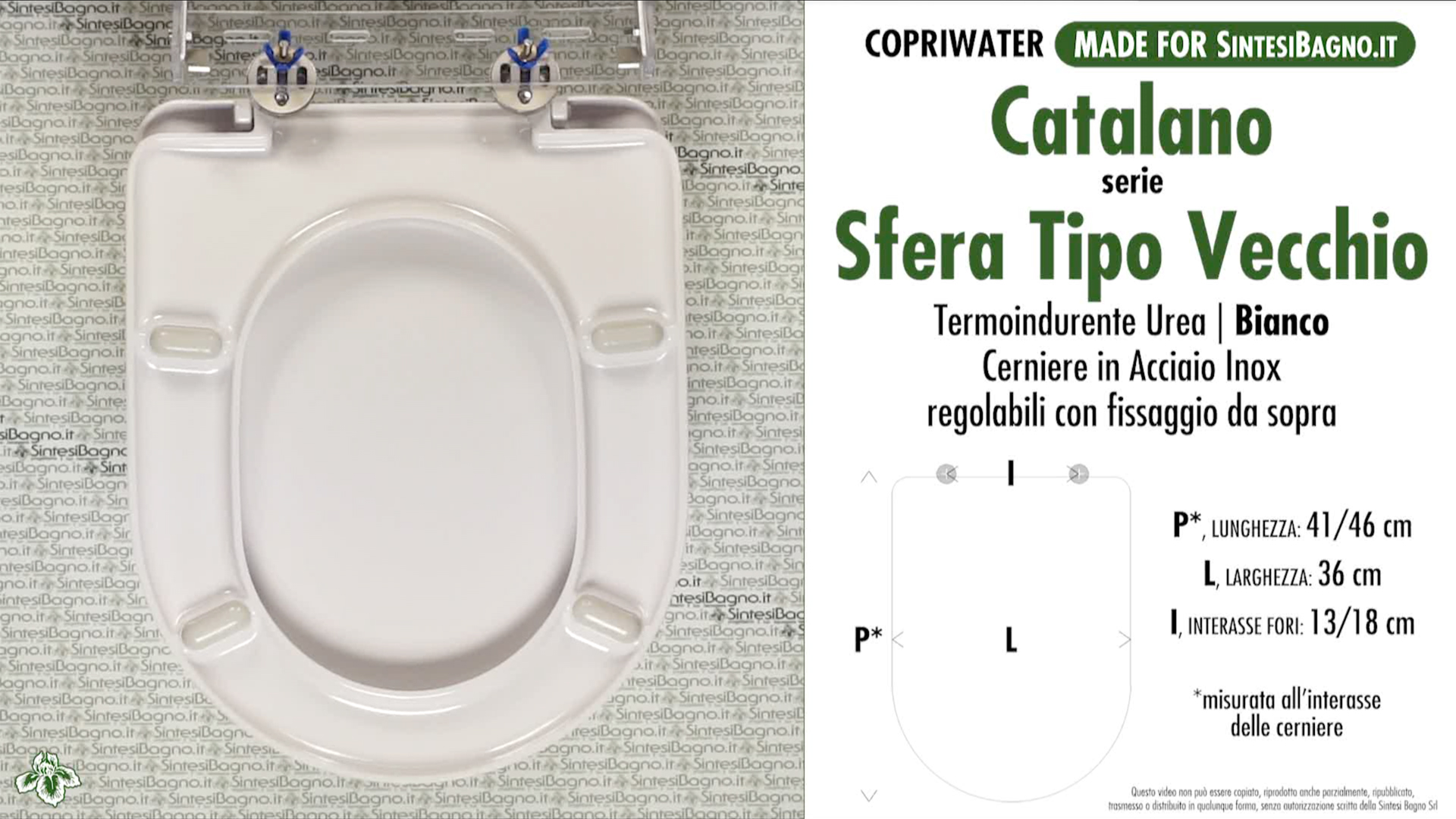 SCHEDA TECNICA MISURE copriwater CATALANO SFERA TIPO VECCHIO
