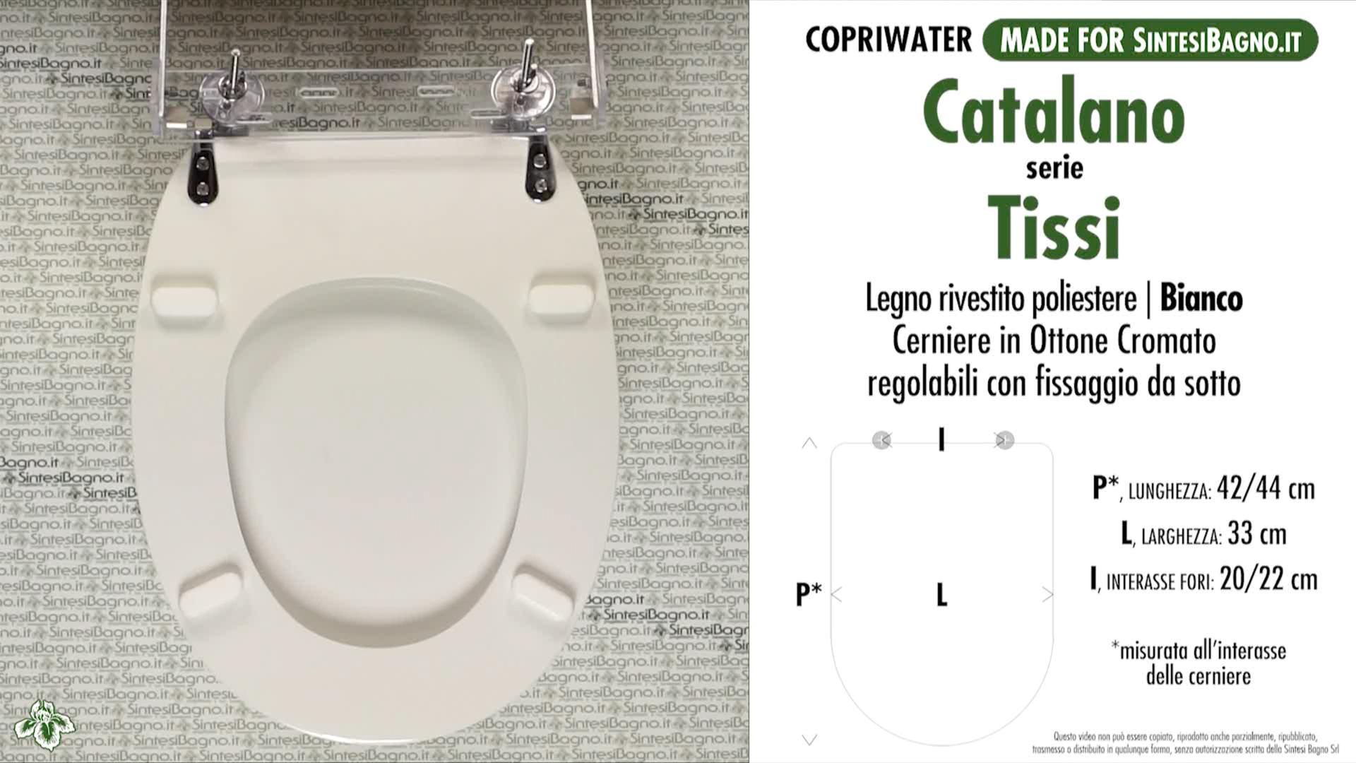 SCHEDA TECNICA MISURE copriwater CATALANO TISSI