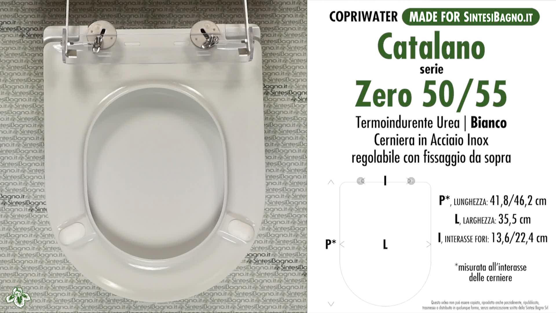 SCHEDA TECNICA MISURE copriwater CATALANO ZERO 50/55/62