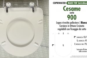 SCHEDA TECNICA MISURE copriwater CESAME SERIE 900