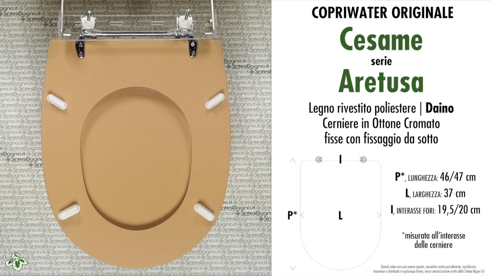 SCHEDA TECNICA MISURE copriwater CESAME ARETUSA