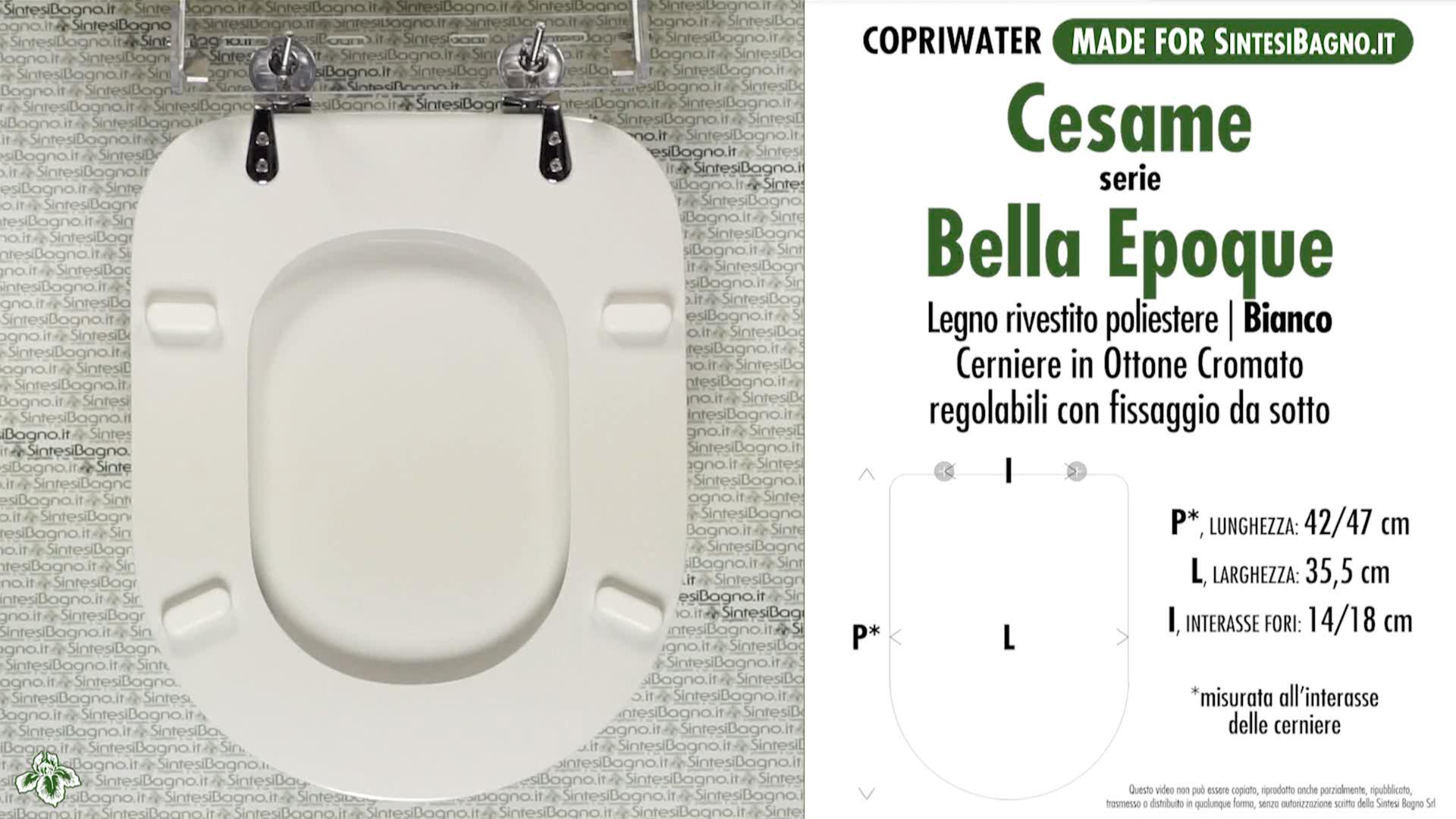 SCHEDA TECNICA MISURE copriwater CESAME BELLA EPOQUE