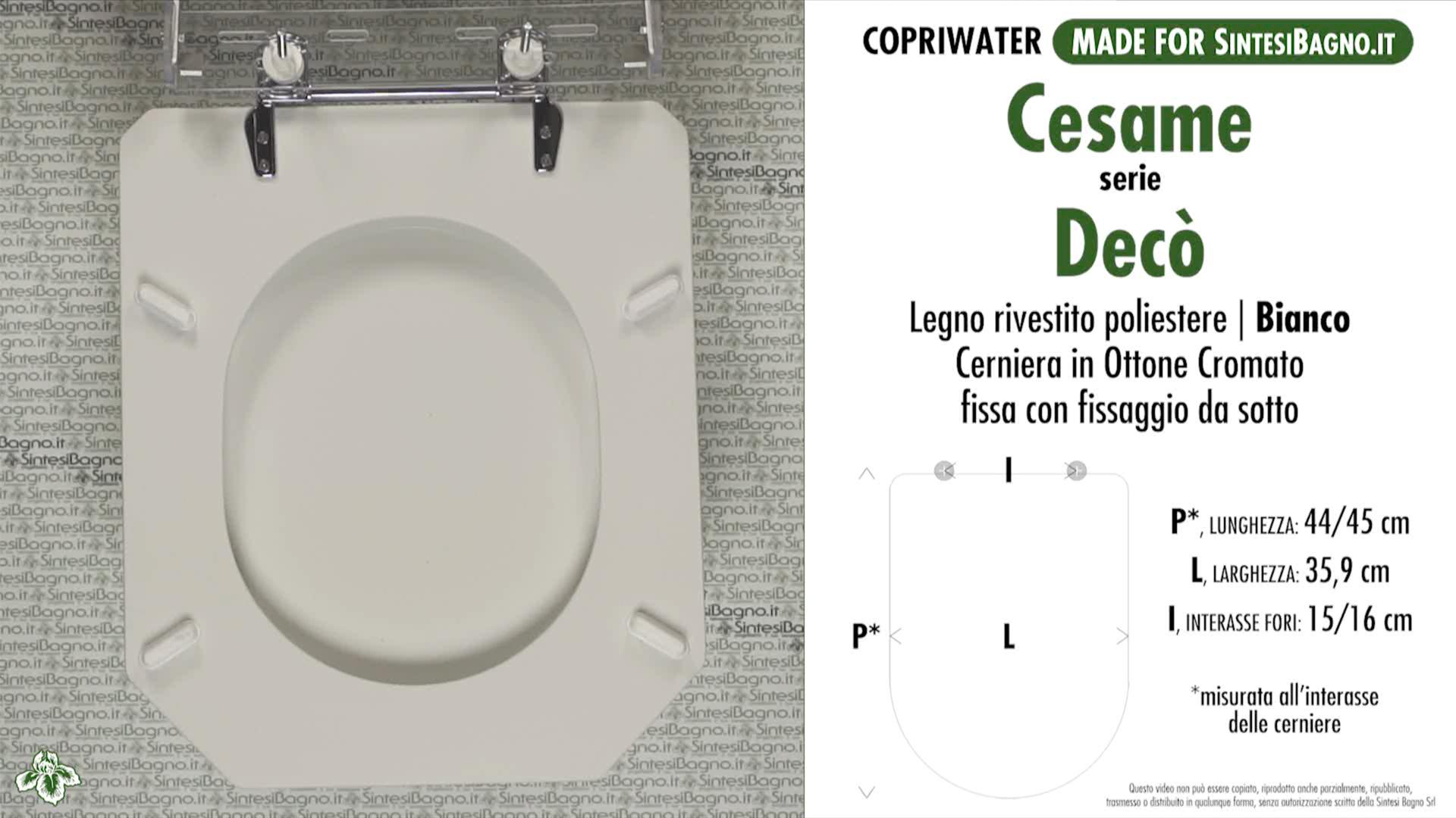 SCHEDA TECNICA MISURE copriwater CESAME DECO'