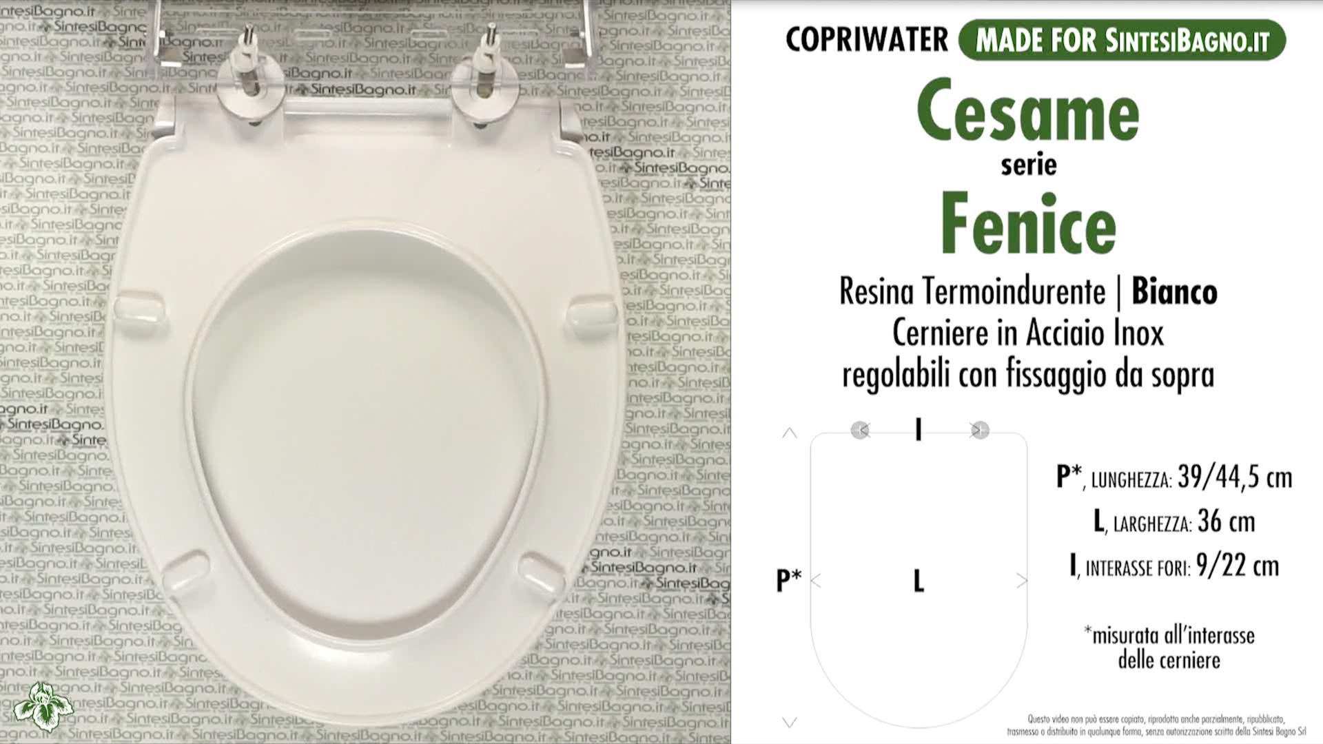 CHEDA TECNICA MISURE copriwater CESAME FENICE