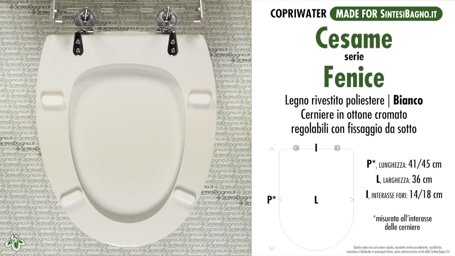 SCHEDA TECNICA MISURE copriwater CESAME FENICE