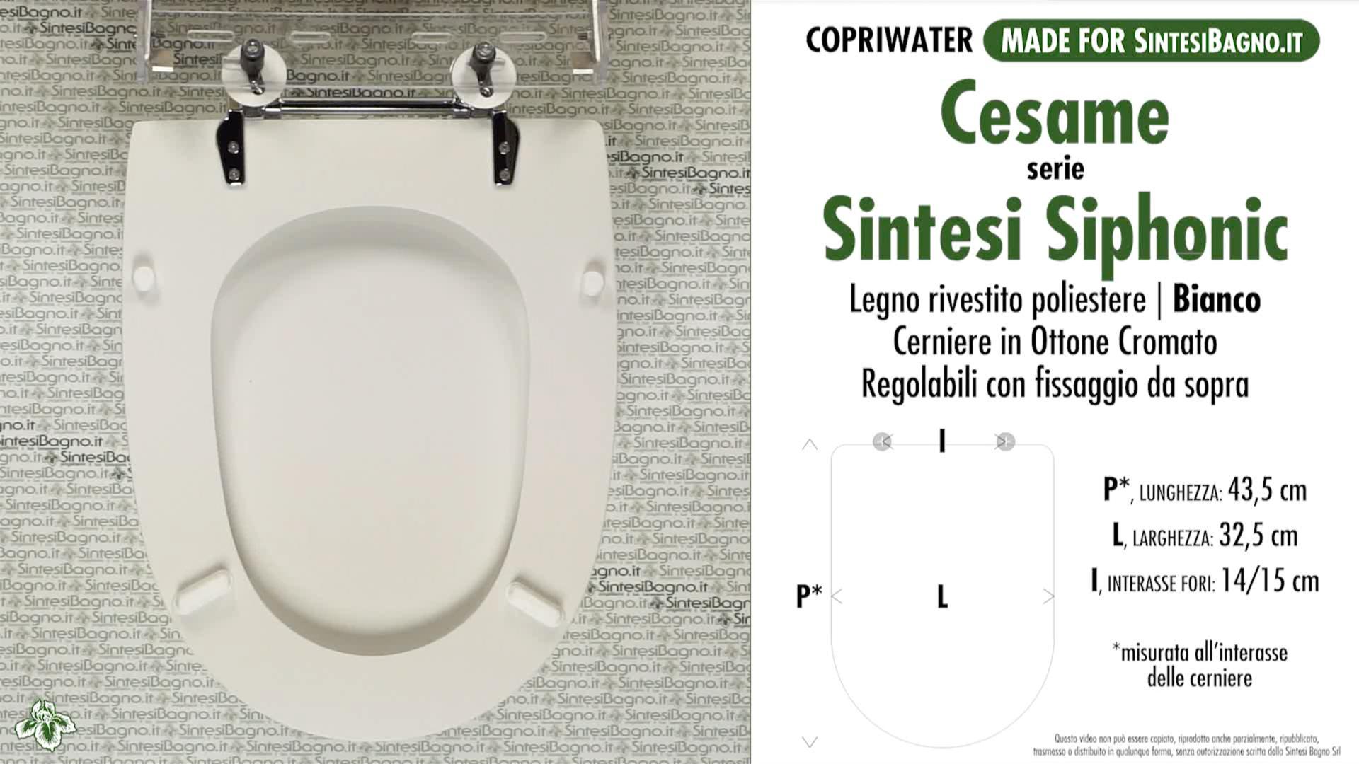 SCHEDA TECNICA MISURE copriwater CESAME SINTESI SIPHONIC