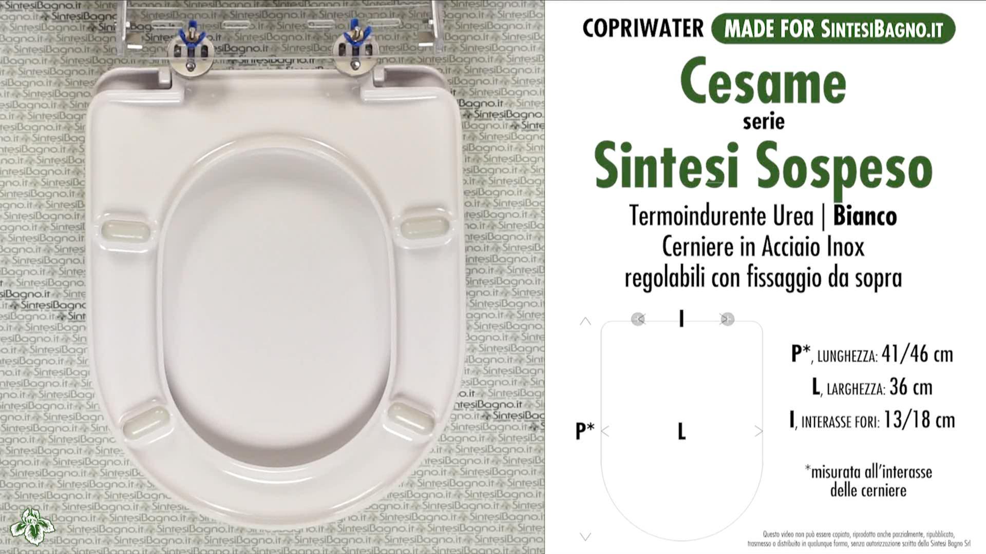 SCHEDA TECNICA MISURE copriwater CESAME SINTESI SOSPESO