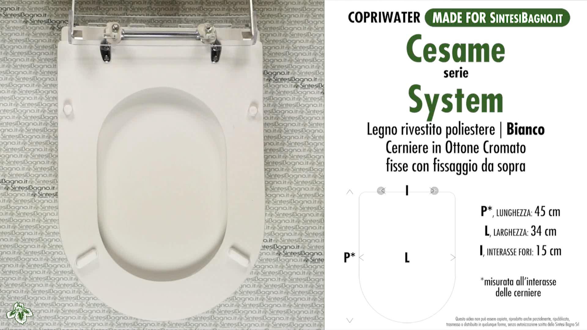 SCHEDA TECNICA MISURE copriwater CESAME SYSTEM