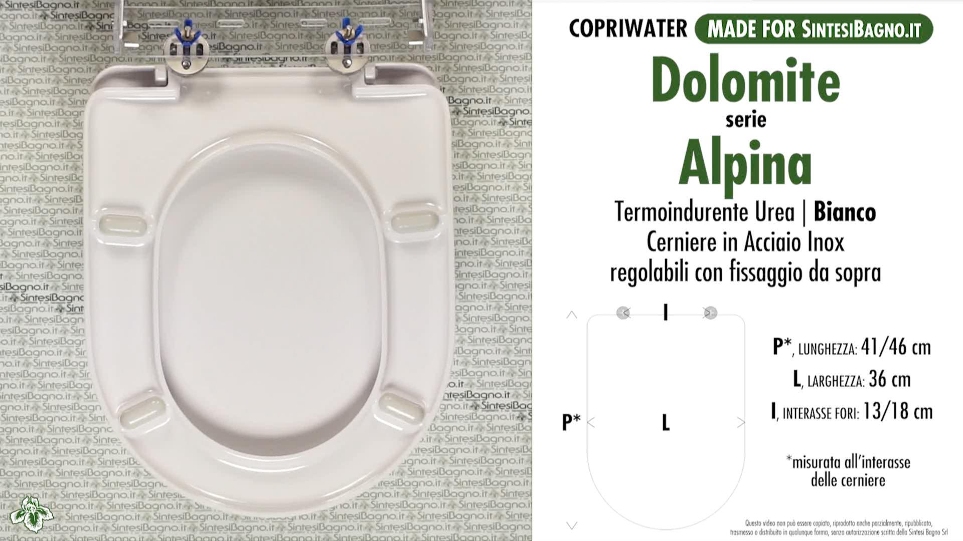 SCHEDA TECNICA MISURE copriwater DOLOMITE ALPINA