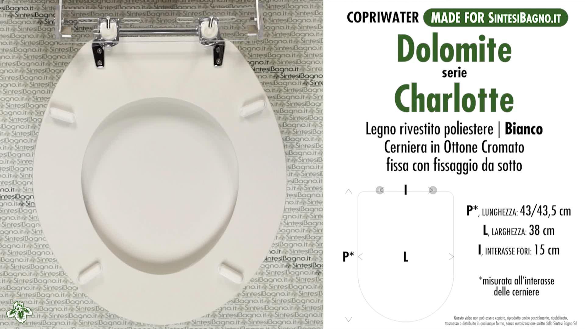 SCHEDA TECNICA MISURE copriwater DOLOMITE CHARLOTTE