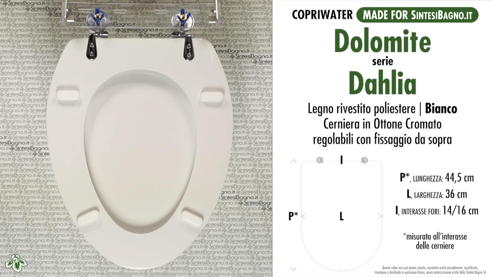 SCHEDA TECNICA MISURE copriwater DOLOMITE DAHLIA
