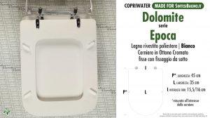 SCHEDA TECNICA MISURE copriwater DOLOMITE EPOCA
