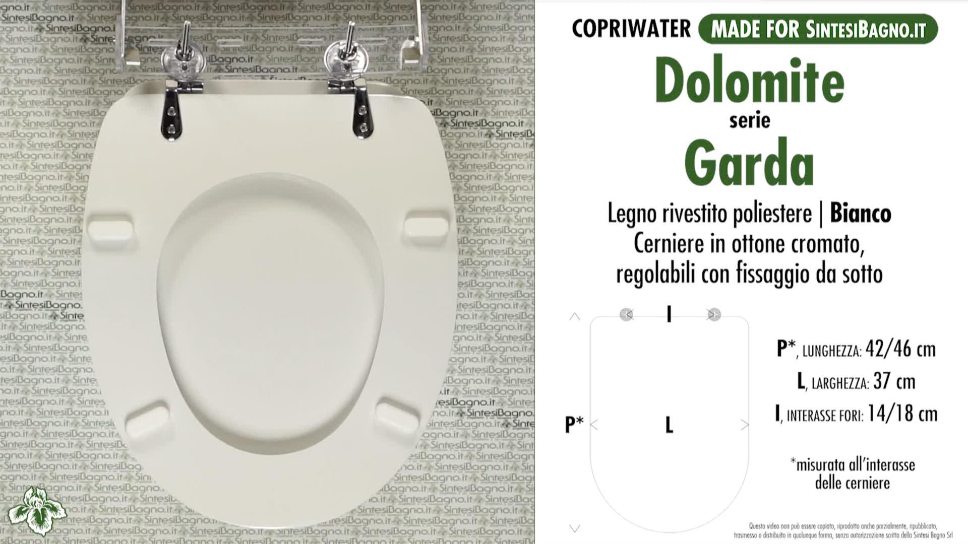 SCHEDA TECNICA MISURE copriwater DOLOMITE GARDA