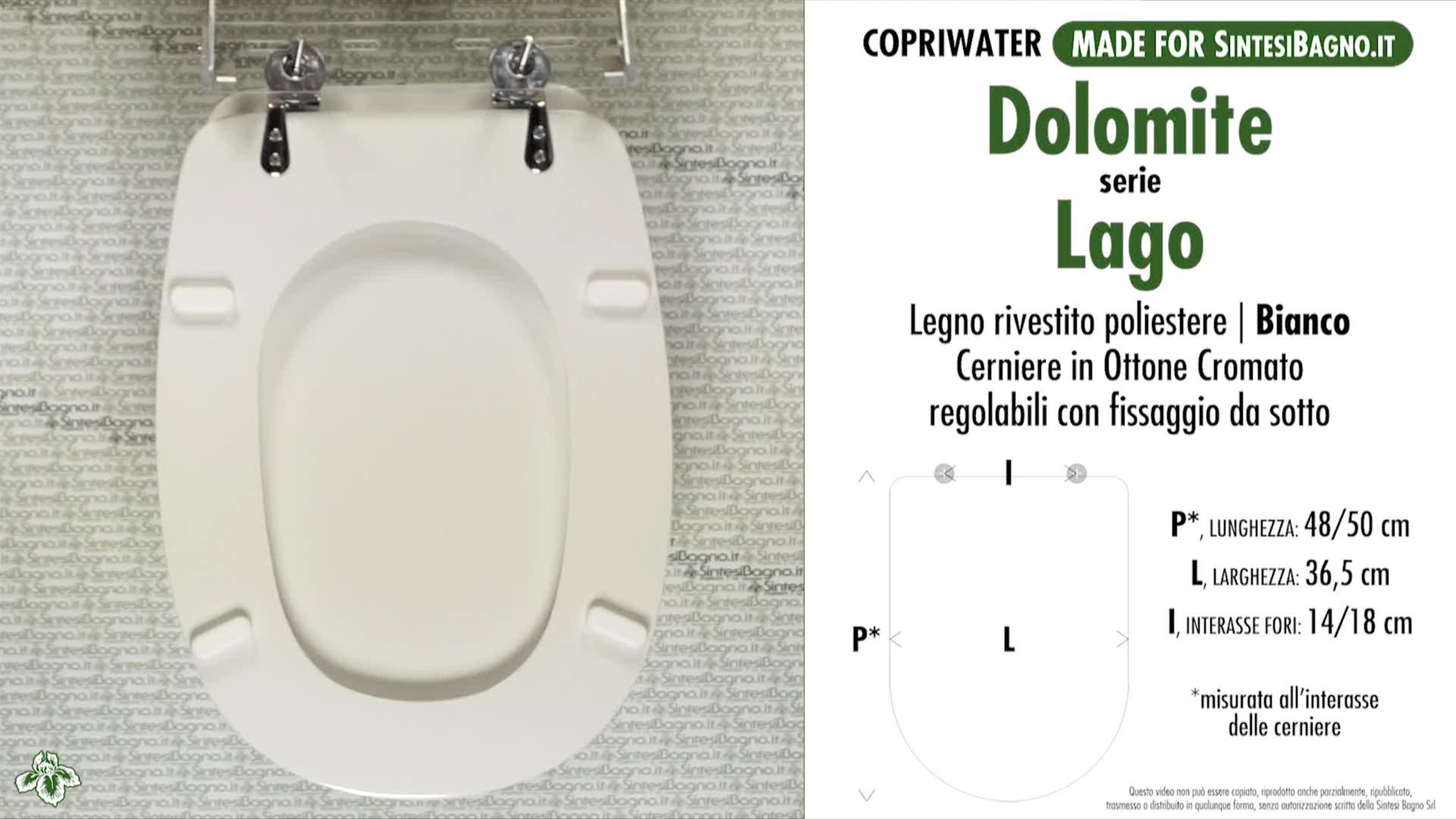 SCHEDA TECNICA MISURE copriwater DOLOMITE LAGO