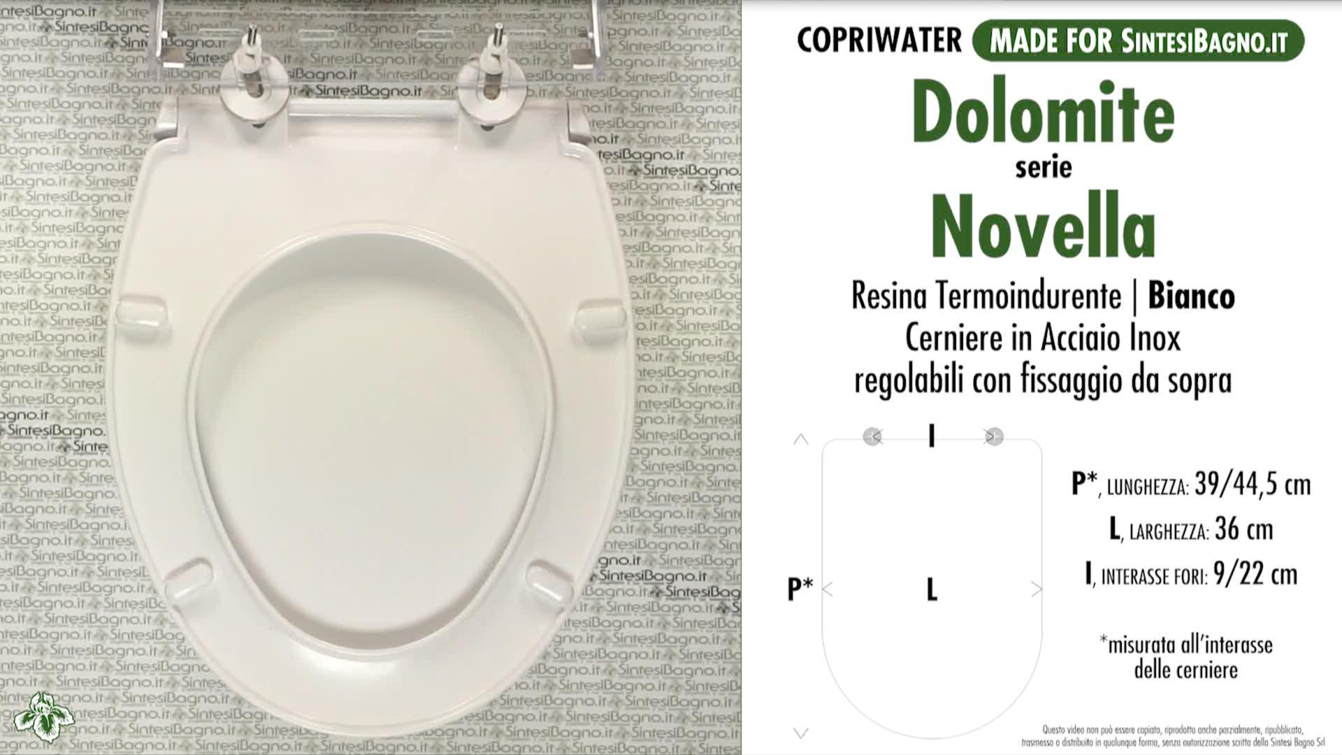 SCHEDA TECNICA MISURE copriwater DOLOMITE NOVELLA
