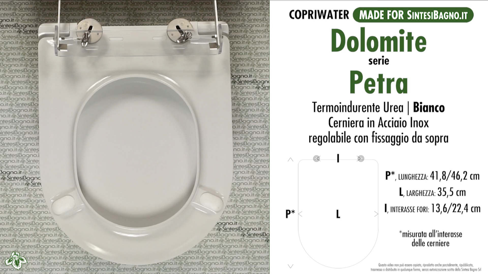 SCHEDA TECNICA MISURE copriwater DOLOMITE PETRA