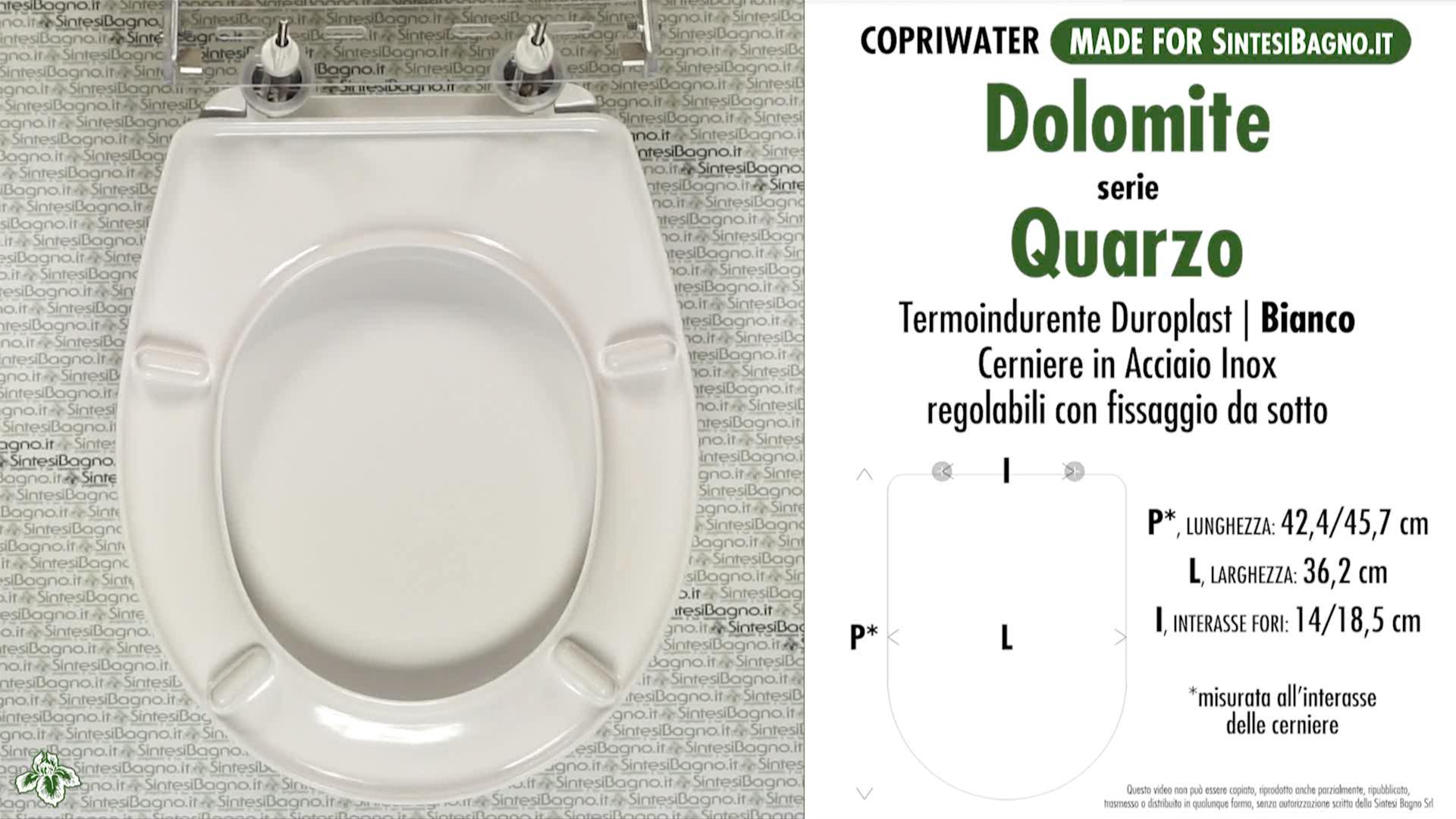 SCHEDA TECNICA MISURE copriwater DOLOMITE QUARZO