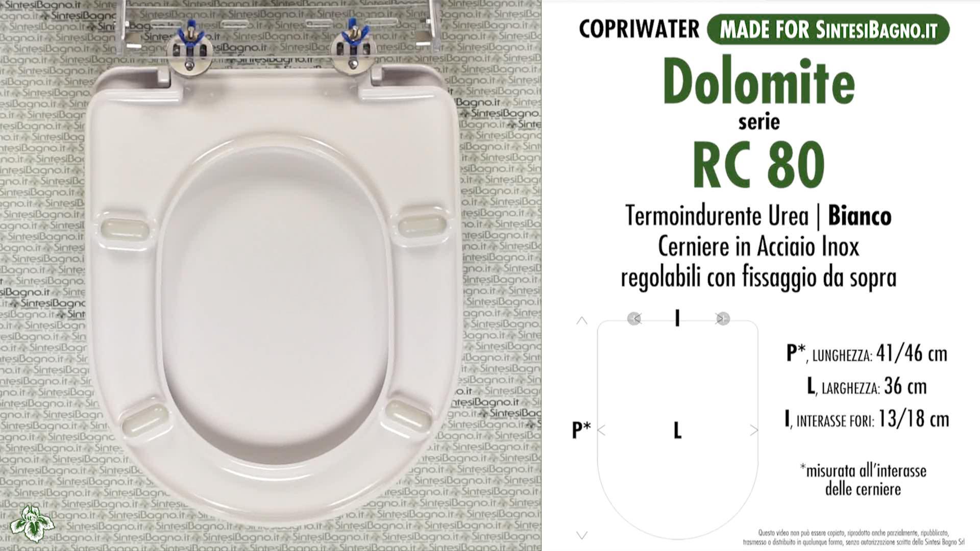 SCHEDA TECNICA MISURE copriwater DOLOMITE RC 80
