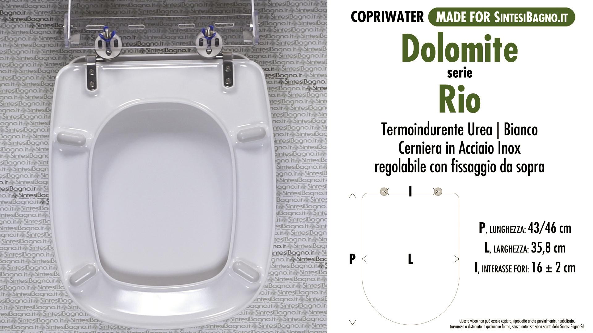 SCHEDA TECNICA MISURE copriwater DOLOMITE RIO