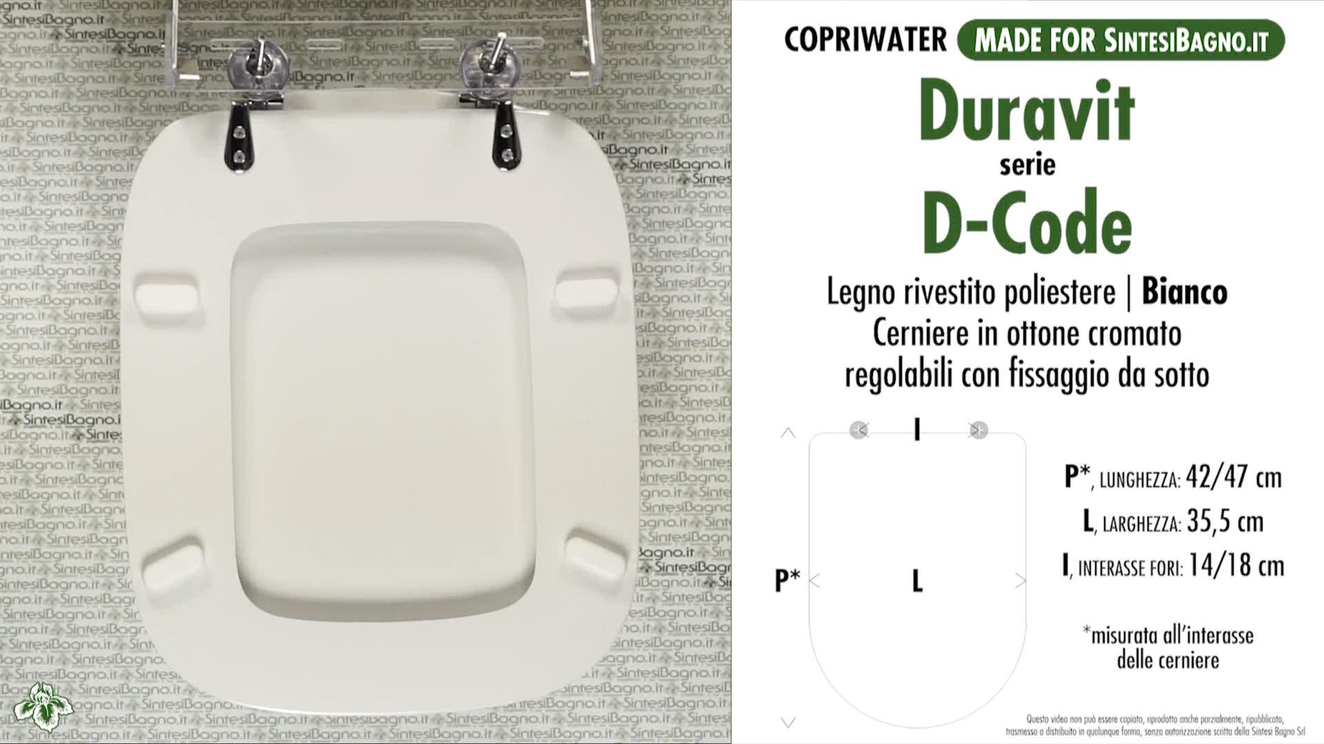 SCHEDA TECNICA MISURE copriwater LAUFEN/DURAVIT D-CODE