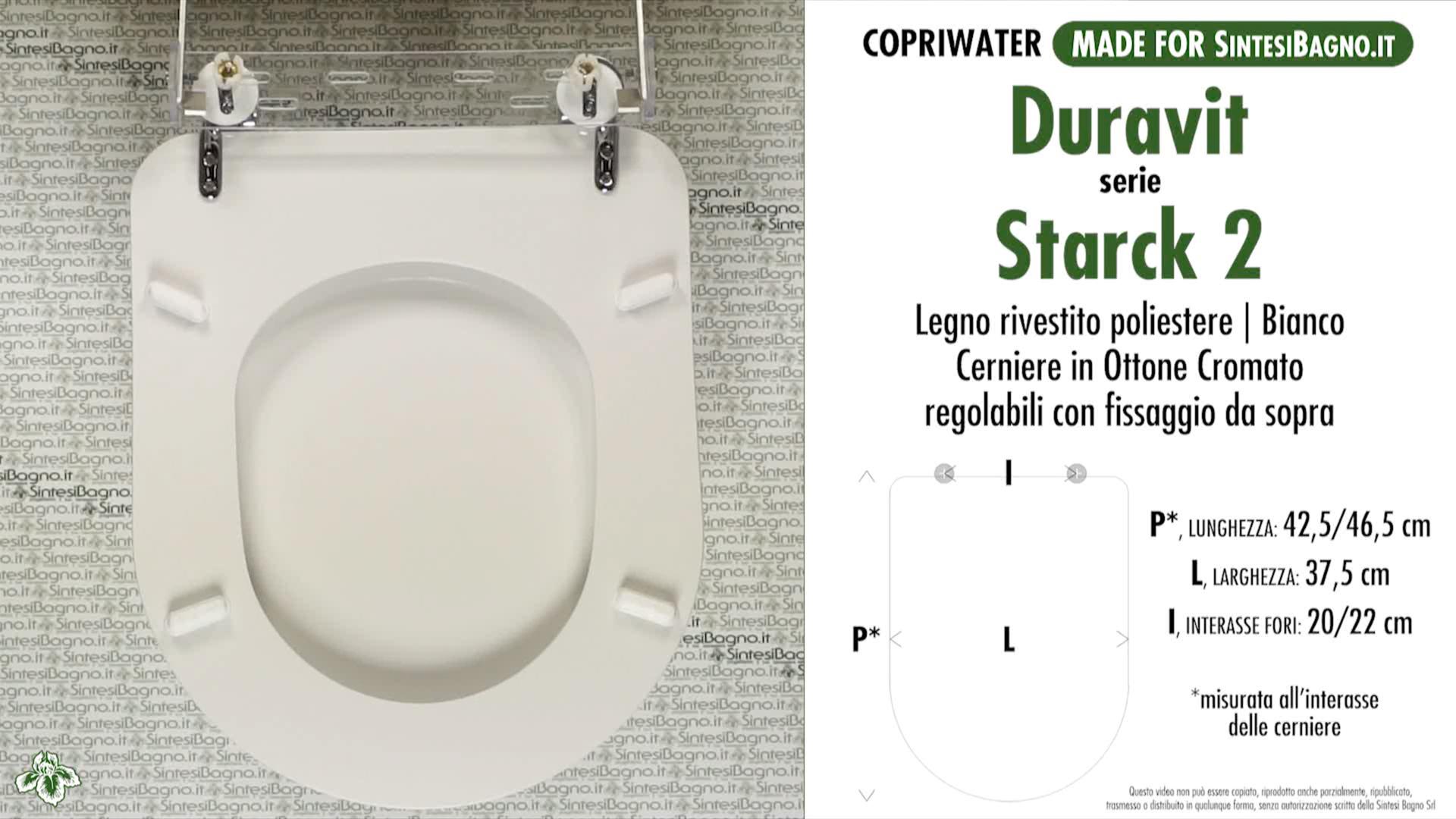 SCHEDA TECNICA MISURE copriwater LAUFEN/DURAVIT STARCK 2