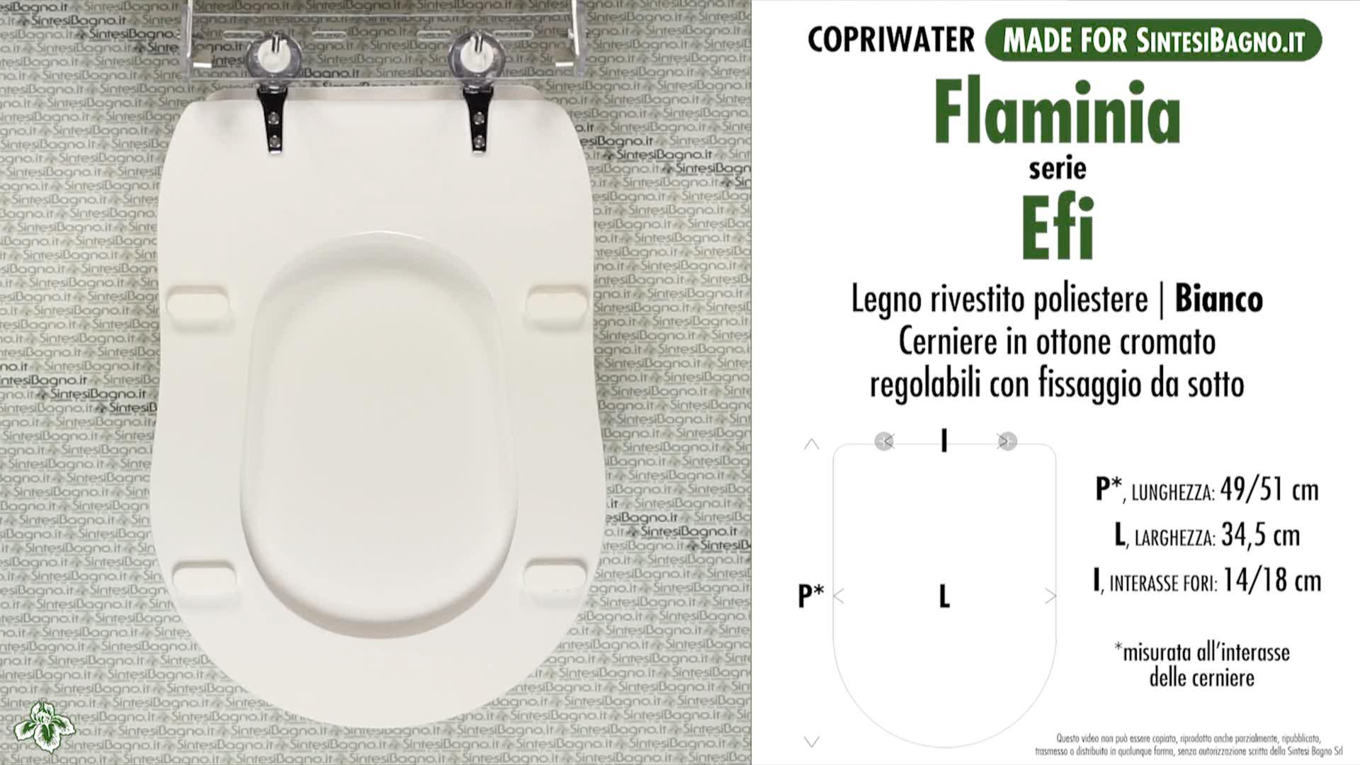 SCHEDA TECNICA copriwater FLAMINIA EFI