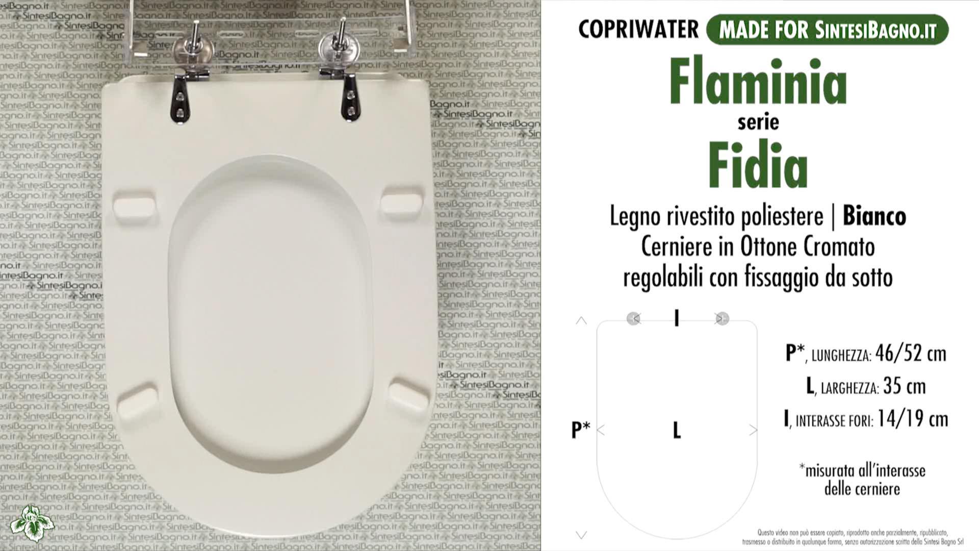 SCHEDA TECNICA copriwater FLAMINIA FIDIA