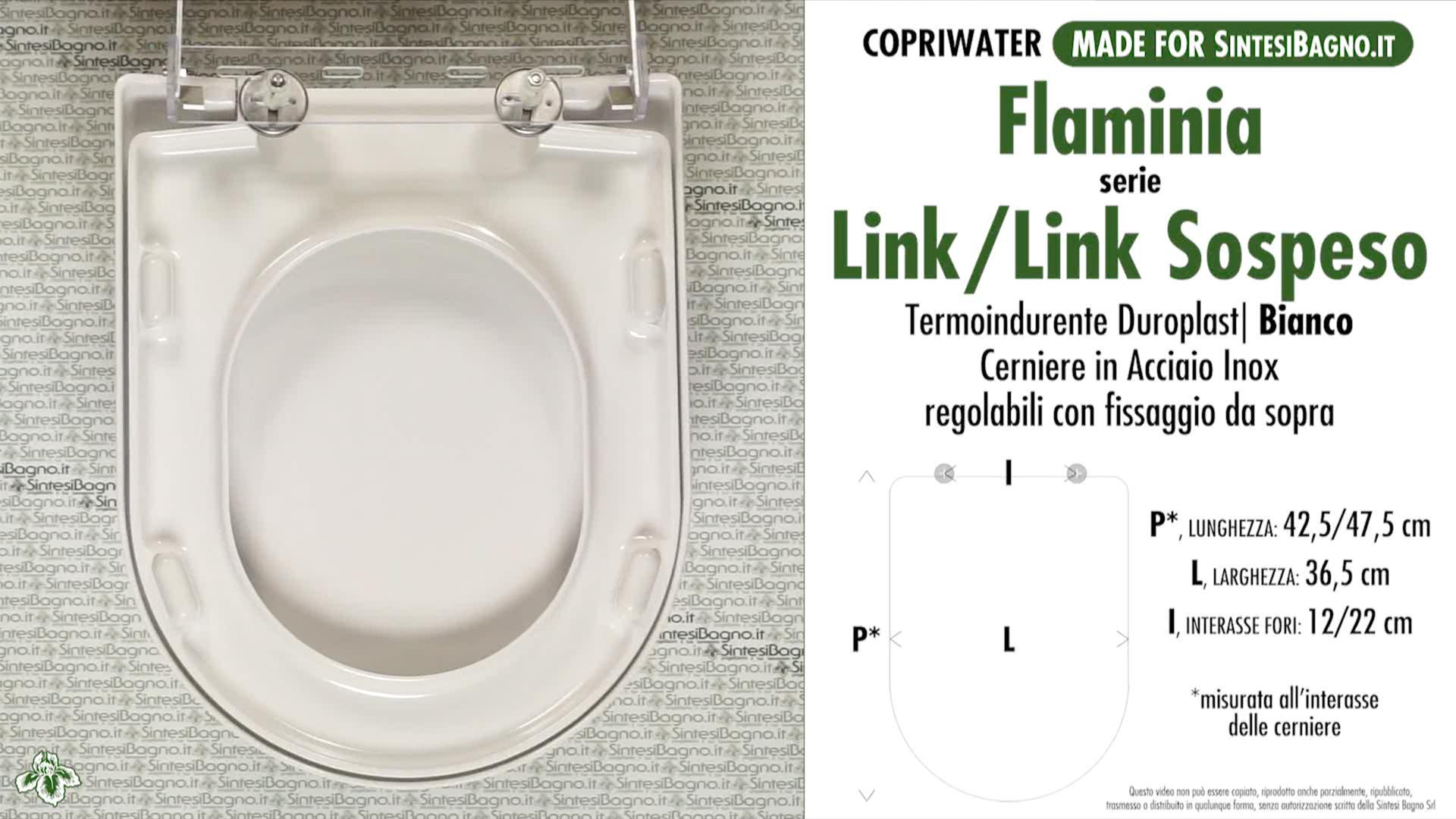 SCHEDA TECNICA MISURE copriwater FLAMINIA LINK