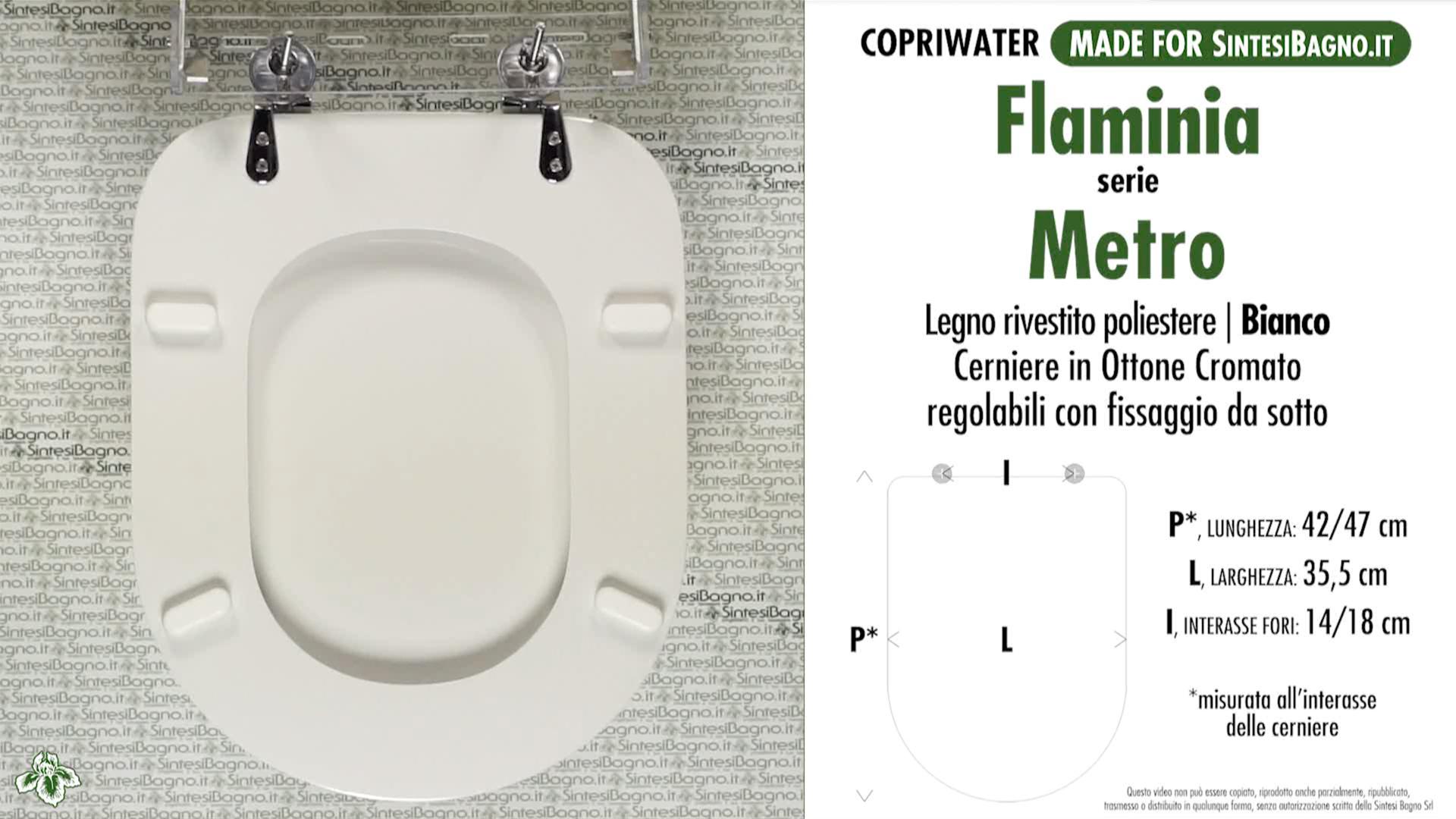 SCHEDA TECNICA MISURE copriwater FLAMINIA METRO
