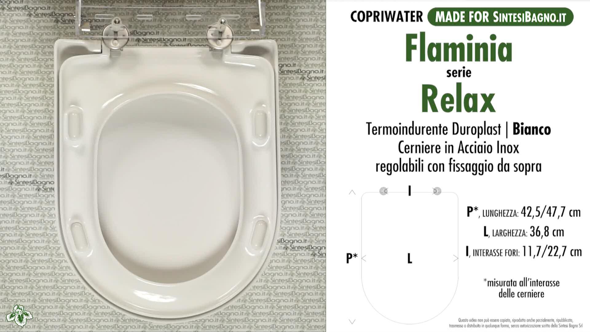 SCHEDA TECNICA MISURE copriwater FLAMINIA RELAX