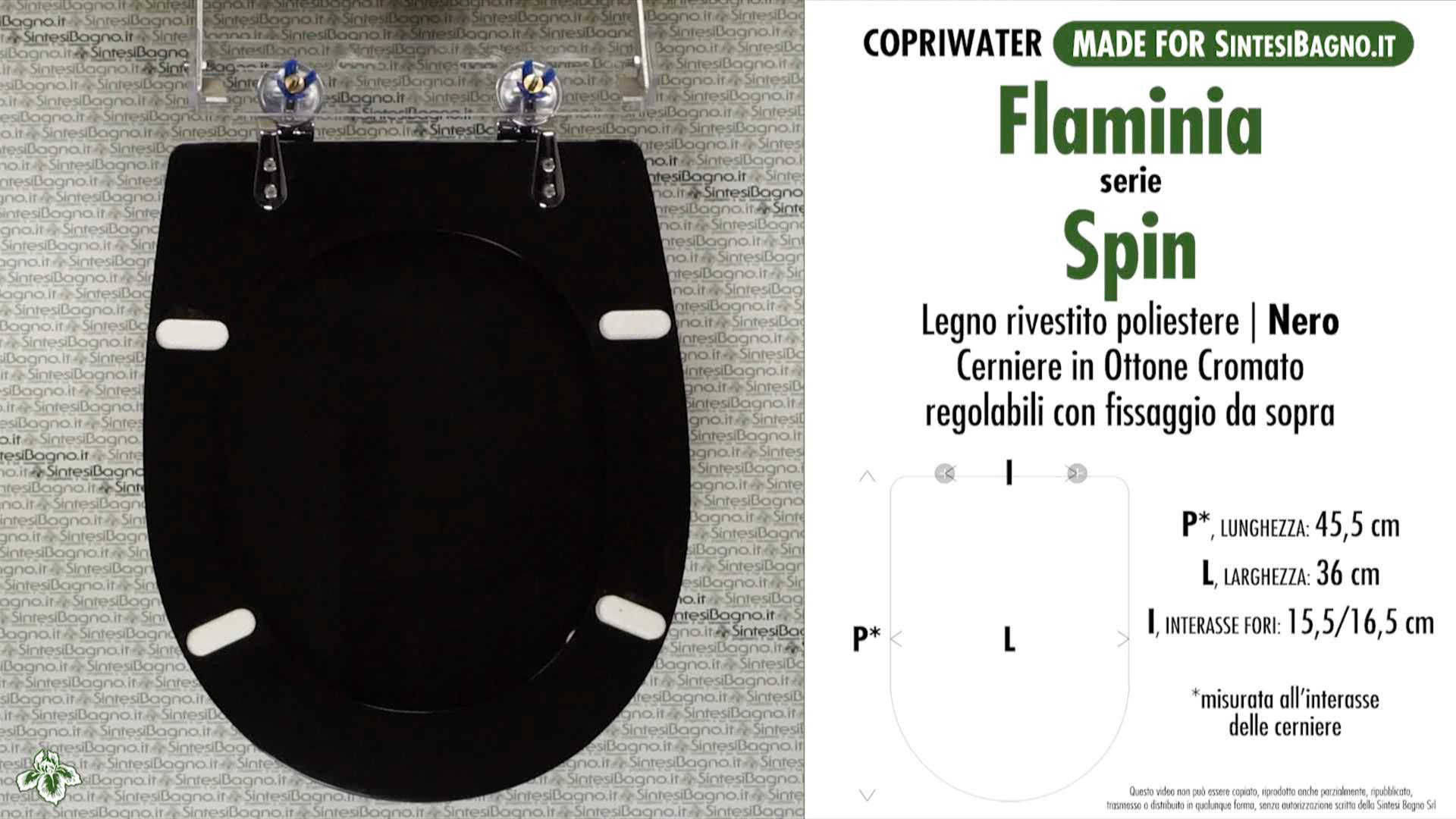 SCHEDA TECNICA MISURE copriwater FLAMINIA SPIN