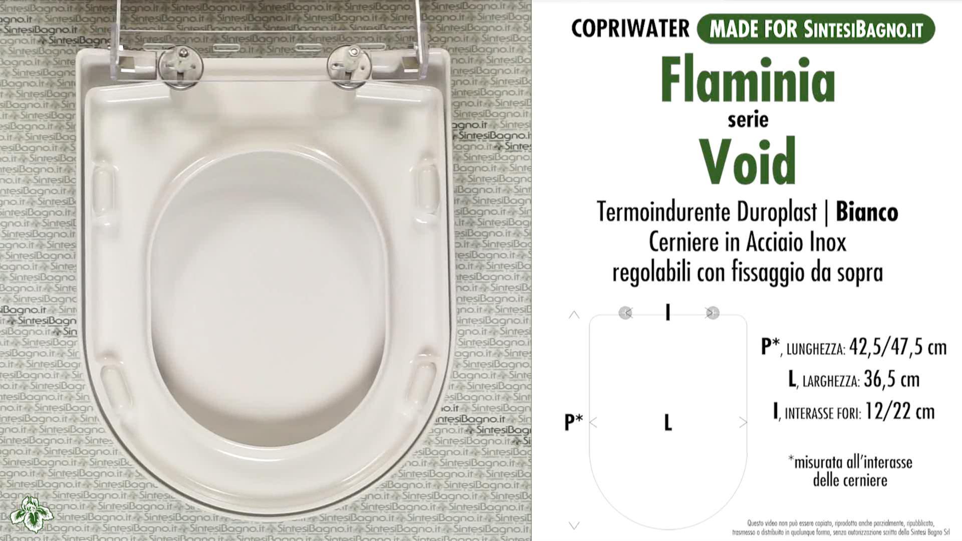 SCHEDA TECNICA MISURE copriwater FLAMINIA VOID