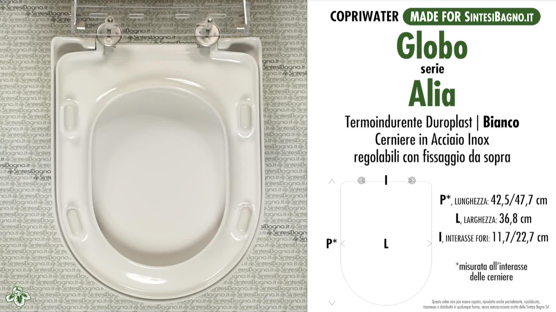 SCHEDA TECNICA MISURE copriwater GLOBO ALIA