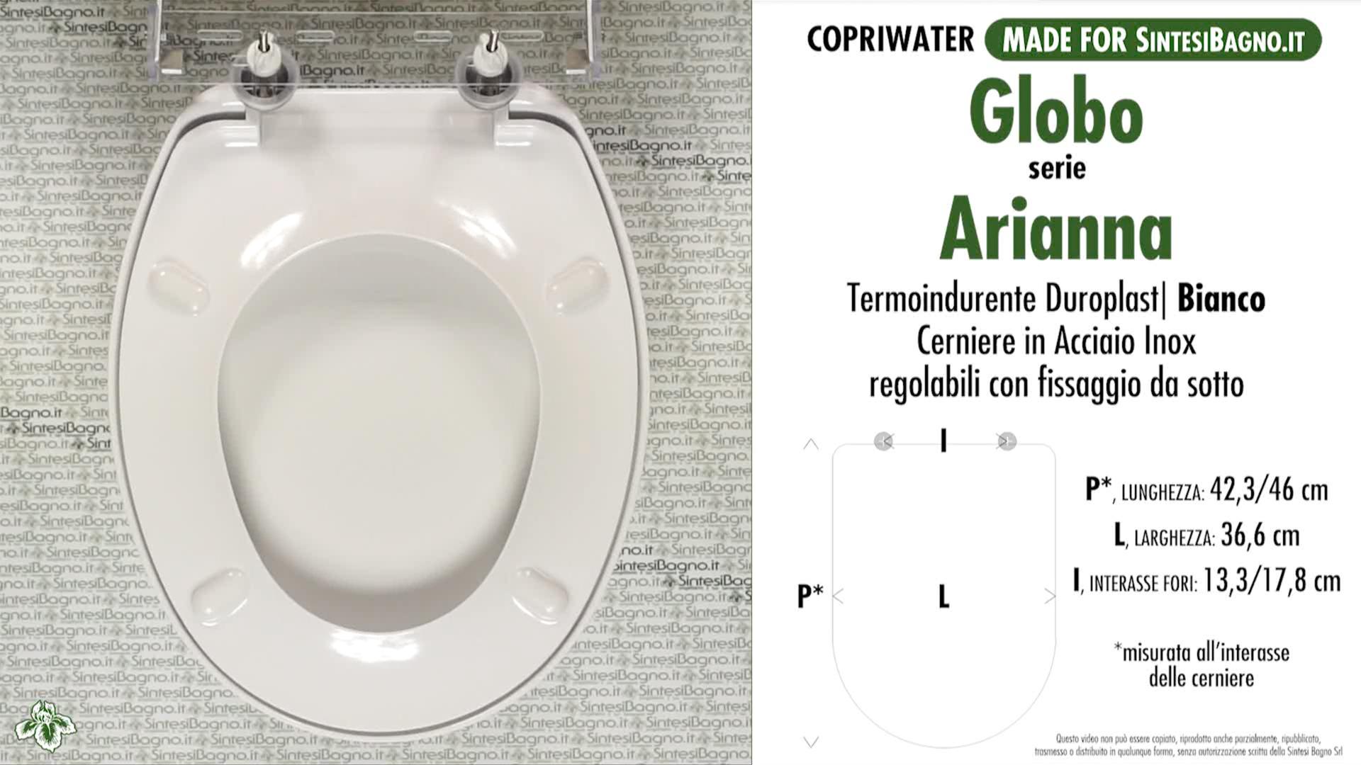 SCHEDA TECNICA MISURE copriwater GLOBO ARIANNA