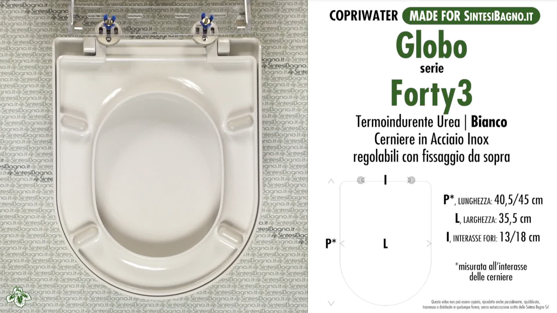 SCHEDA TECNICA MISURE copriwater GLOBO FORTY3