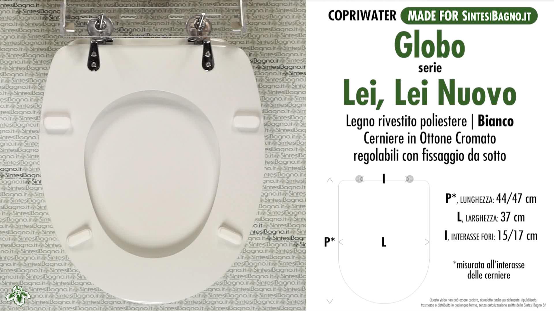 SCHEDA TECNICA MISURE copriwater GLOBO LEI