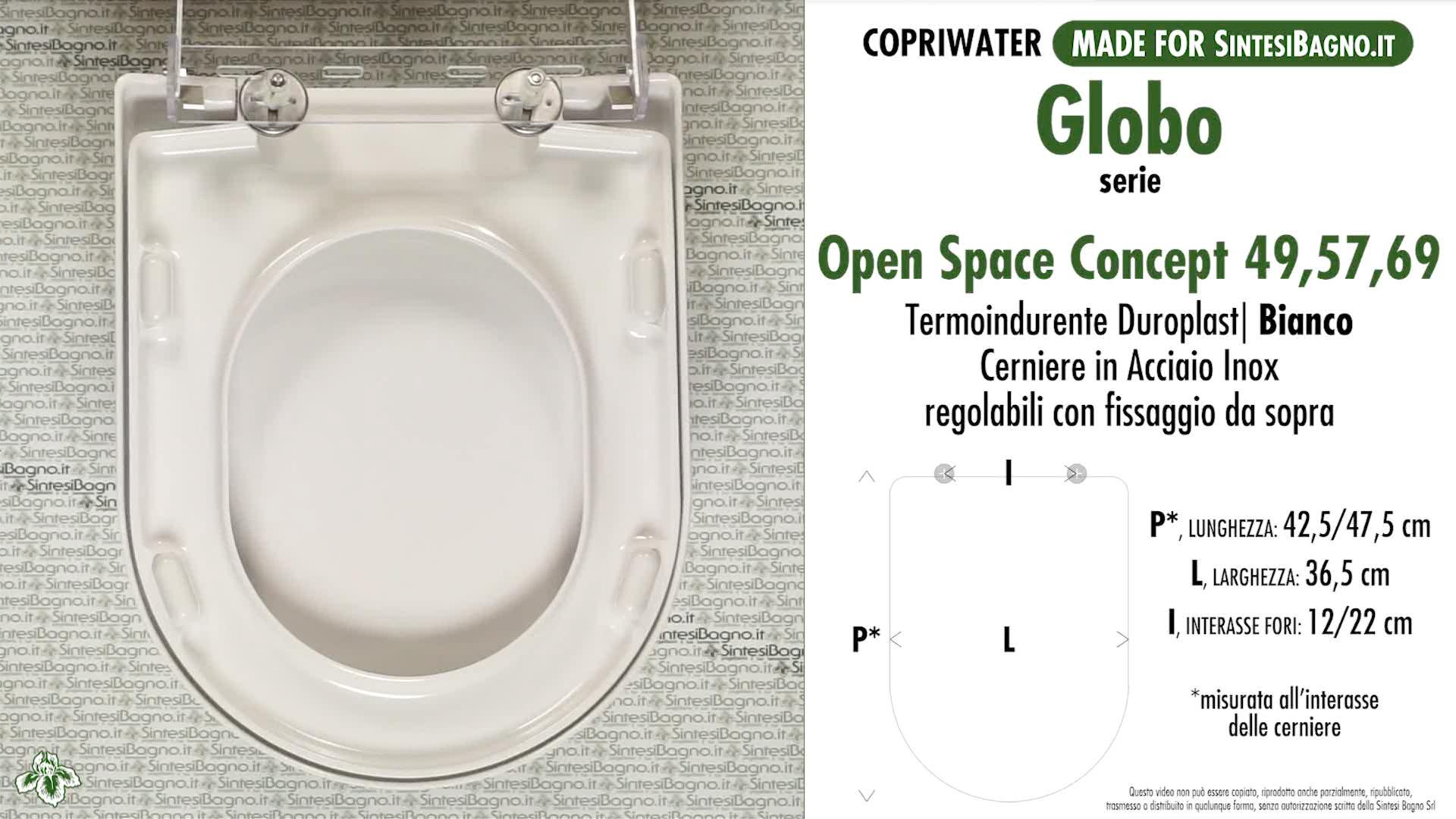 SCHEDA TECNICA MISURE copriwater GLOBO OPEN SPACE CONCEPT