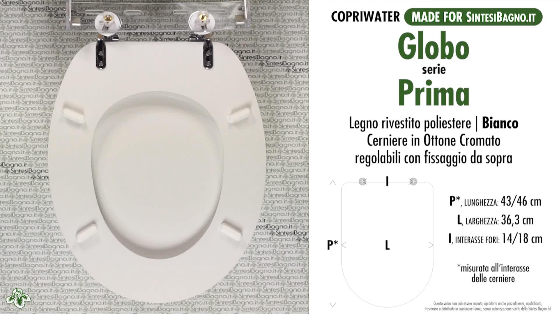 SCHEDA TECNICA MISURE copriwater GLOBO PRIMA