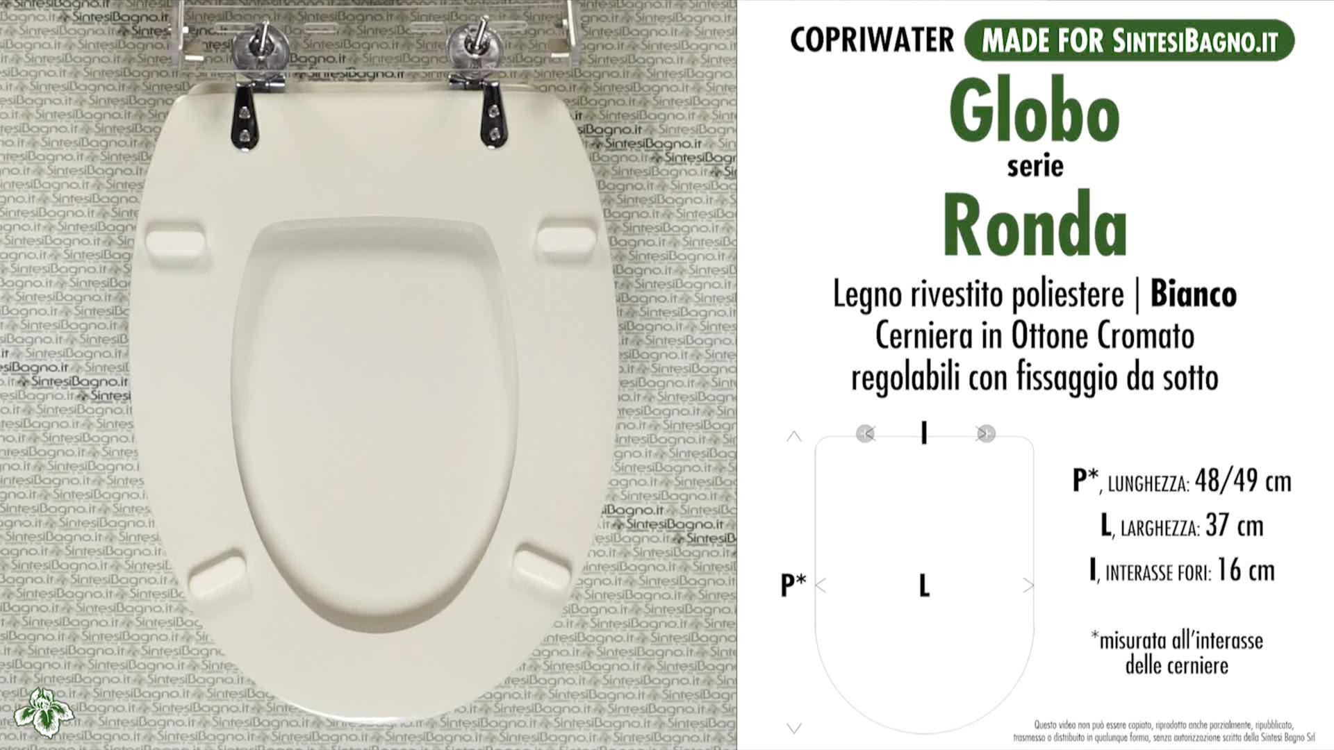 SCHEDA TECNICA MISURE copriwater GLOBO RONDA