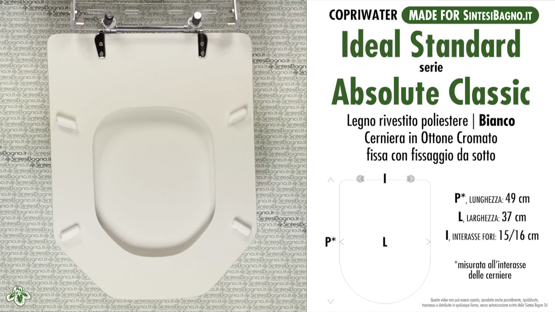 SCHEDA TECNICA MISURE copriwater IDEAL STANDARD ABSOLUTE CLASSIC
