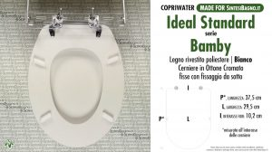 SCHEDA TECNICA MISURE copriwater IDEAL STANDARD BAMBY