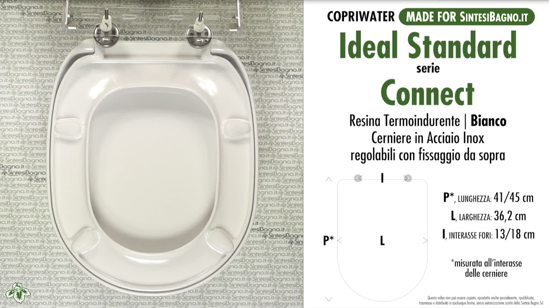 SCHEDA TECNICA MISURE copriwater IDEAL STANDARD CONNECT
