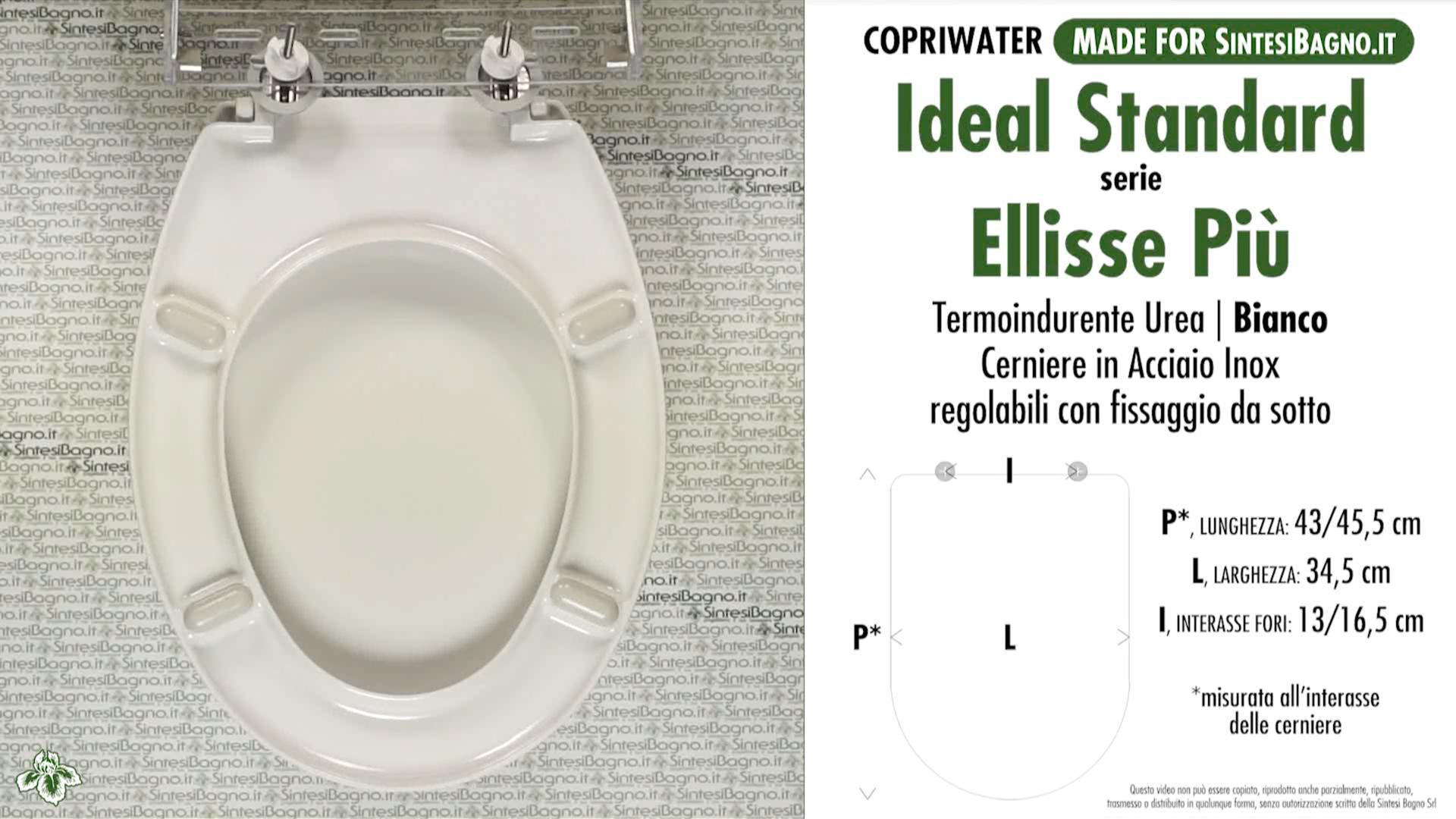 SCHEDA TECNICA MISURE copriwater IDEAL STANDARD ELLISSE PIU'