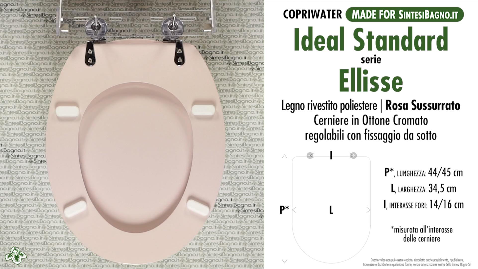 SCHEDA TECNICA MISURE copriwater IDEAL STANDARD ELLISSE