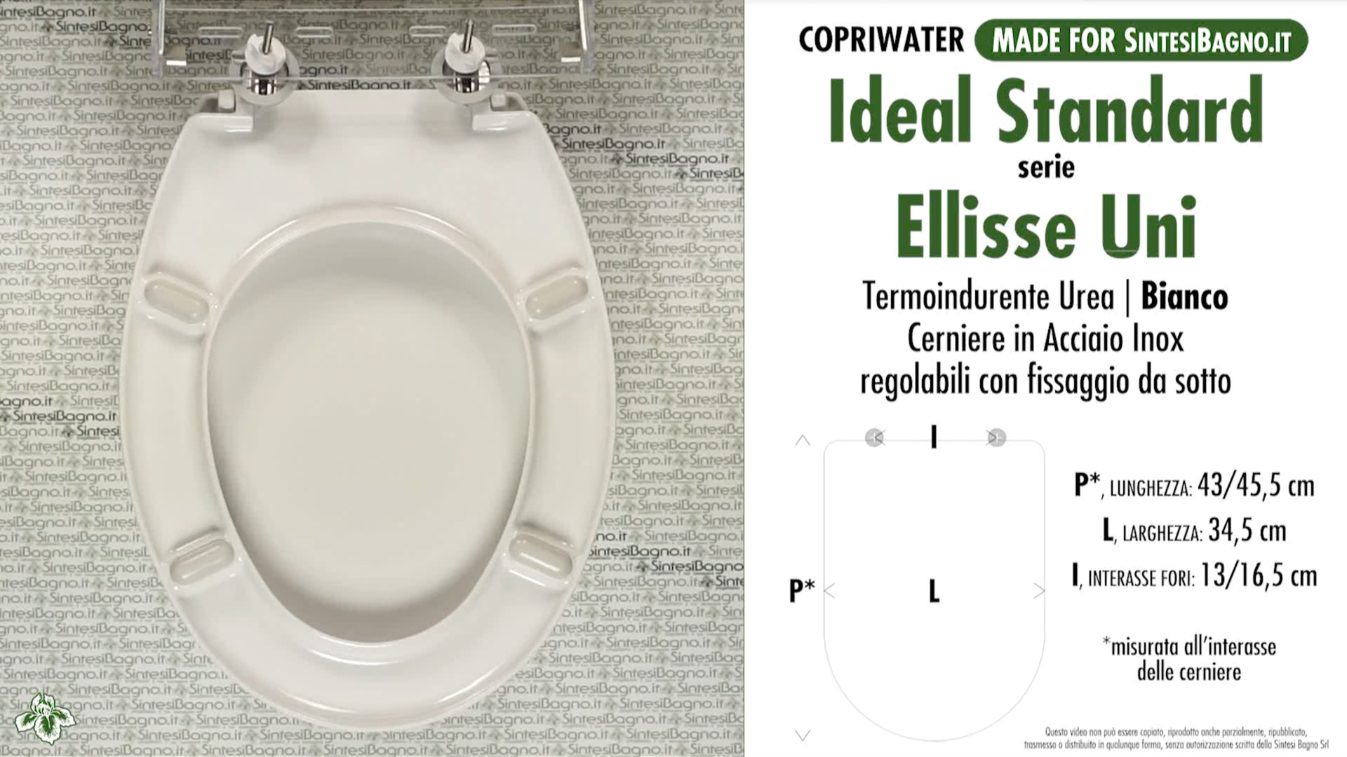 SCHEDA TECNICA MISURE copriwater IDEAL STANDARD ELLISSE UNI