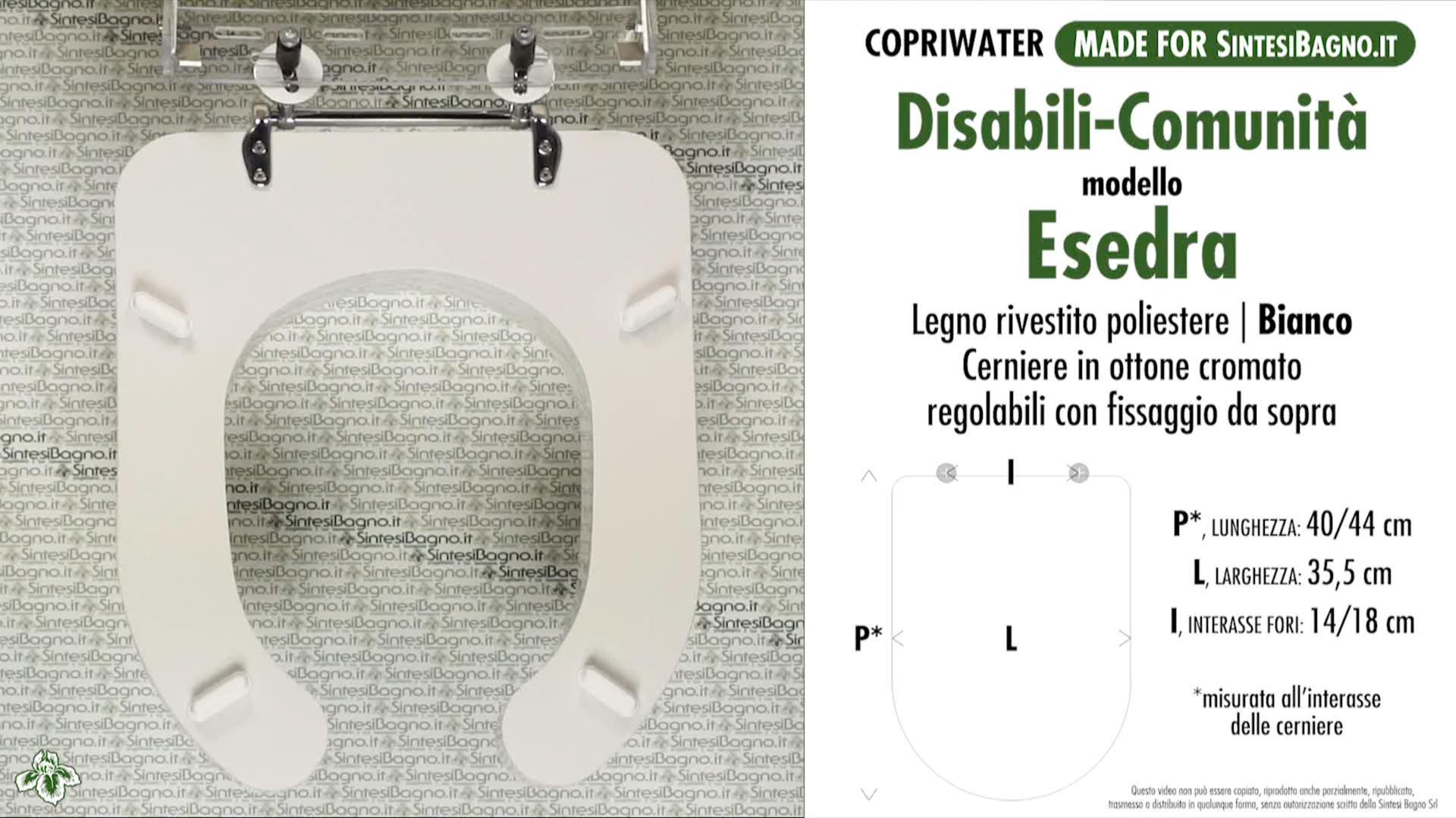 SCHEDA TECNICA MISURE copriwater IDEAL STANDARD ESEDRA DISABILI