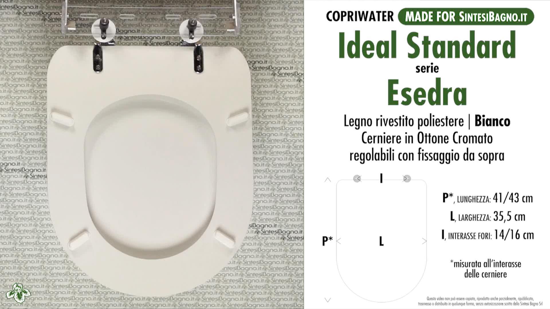 SCHEDA TECNICA MISURE copriwater IDEAL STANDARD ESEDRA